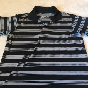 Nike boys golf shirt black white stripe youth L